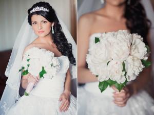 Если волосы густые и жесткие, под фату можно создавать укладку в виде невеста с