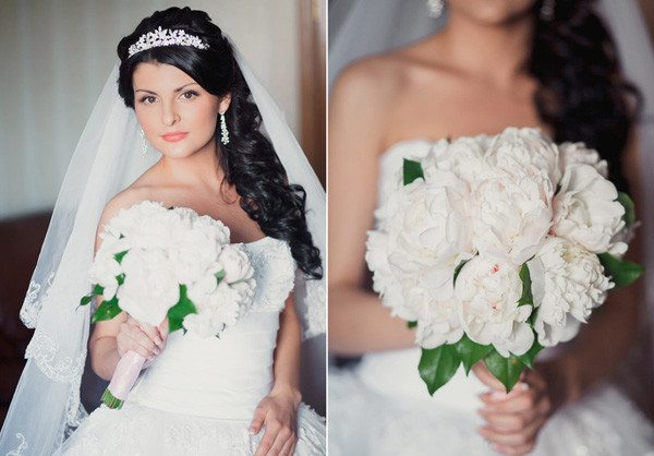 Свадебные прически с фатой для длинных волос