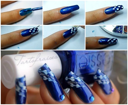 Затем рисуем на ногтях