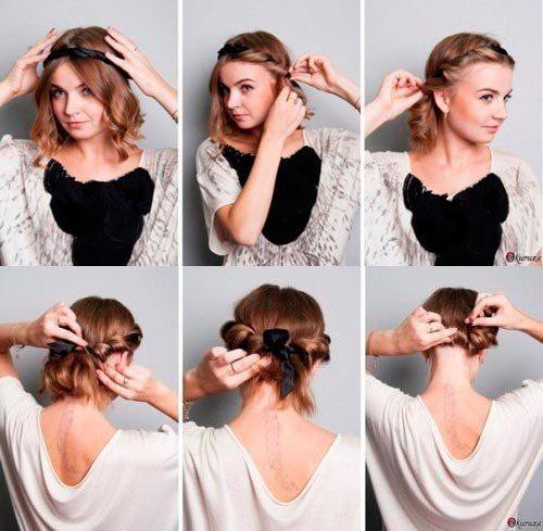Прически на короткие средние волосы своими руками