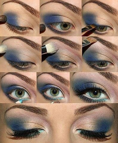 Темно-синий макияж для зеленых