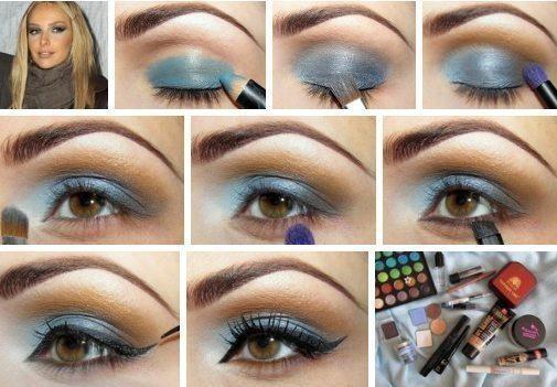 Макияж с голубым цветом 72