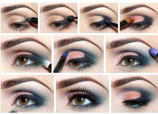 Сине–розовый макияж для карих