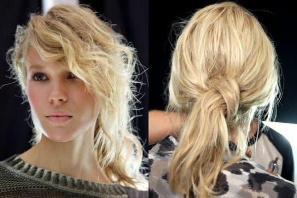 Прическа беспорядок на средние волосы