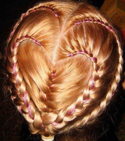 плетение кос с лентой,