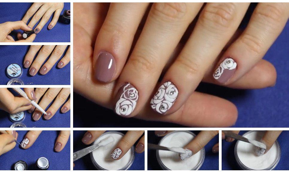 Ногти с дизайном розочки