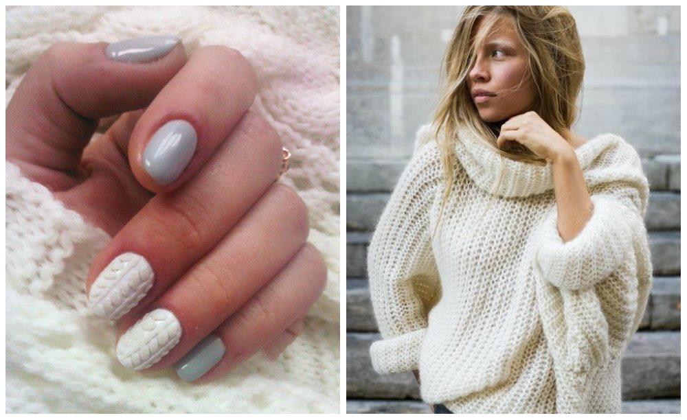 Дизайн вязаный свитер на ногтях фото