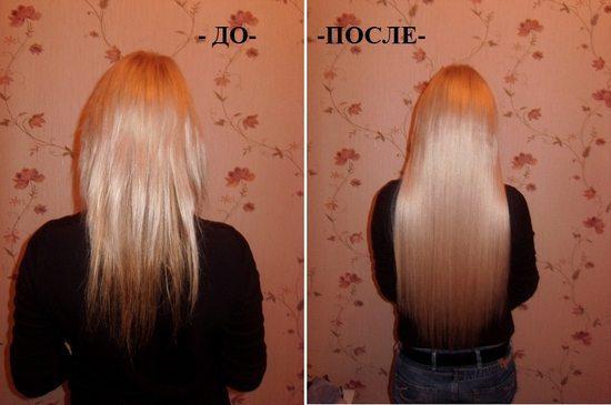 волосы до и после ультразвукового наращивания