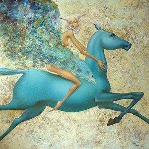 верхом на синей лошади