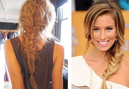 """коса """"рыбий хвост""""- вид сзади и спереди"""