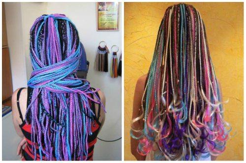 фиолетово- голубое афроплетение