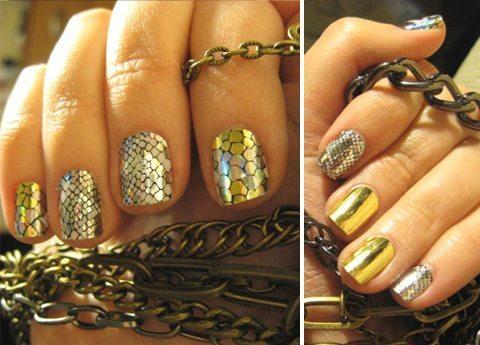 золотой минкс на ногтях