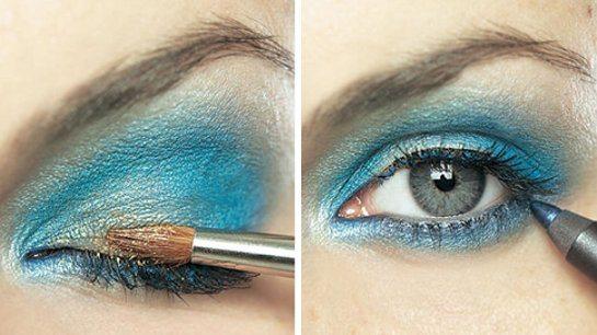 синий smoky eyes