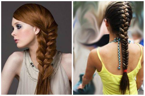французское плетение на длинных волосах
