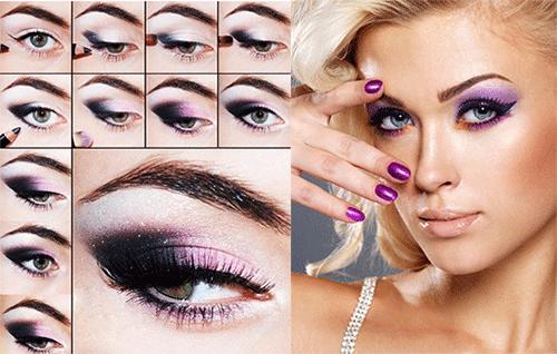 make-up для глаз в фиолетовых-тонах