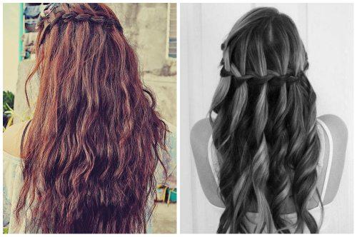 водопад на длинных волосах