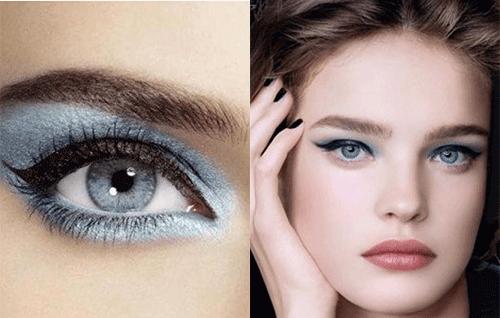 жемчужно- синие тени на глахах