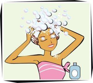 мультяшка моет голову