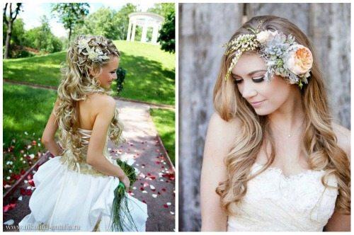цветы на голове невесты