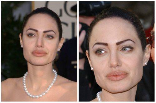 ужасный татуаж бровей Анджелины Джоли
