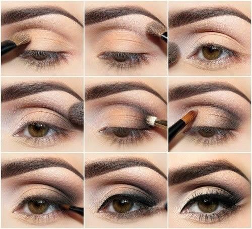 make up глаз в нежной персиково- коричневой гамме