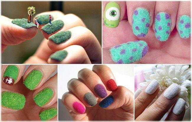 Мохнатый дизайн ногтей