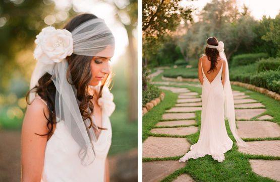 невеста с фатой и цветком на голове