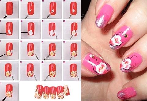 Рисунки на ногтях фото пошагово в домашних условиях