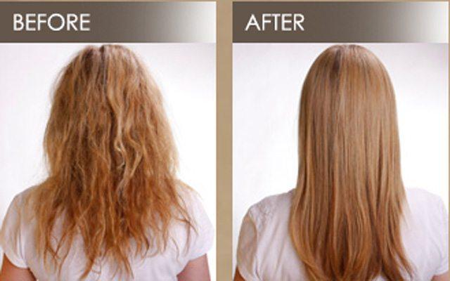 До и после биовыпрямления волос