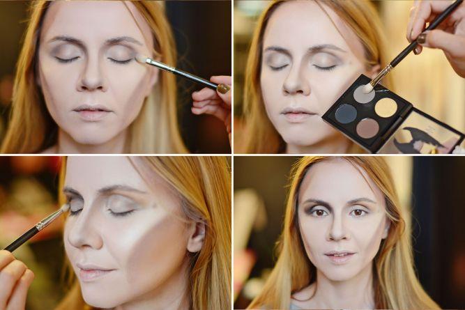 макияж глаз как у Анджелины Джоли из Малефисенты