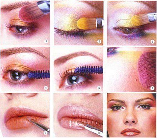 схема создания макияже в стиле 80- х годов