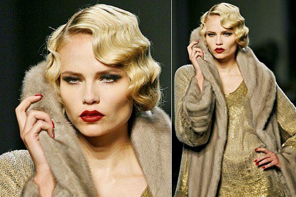 модель от дома Жан Поля Готье с макияжем в стиле ретро