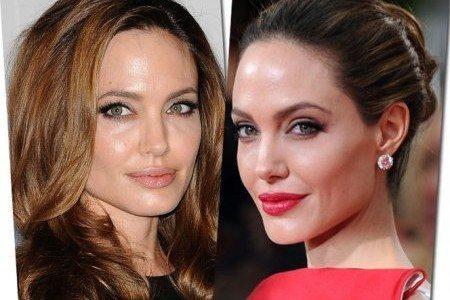 Анджелина Джоли с разным макияжем