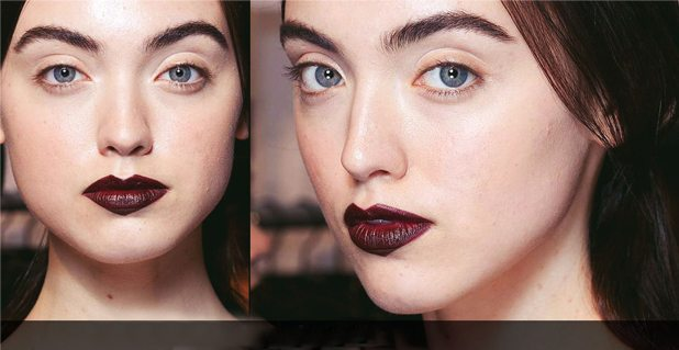 темно- бордовая помада на губах