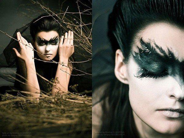 девушка с необычным готическим макияжем