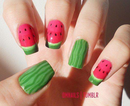арбузный nail art