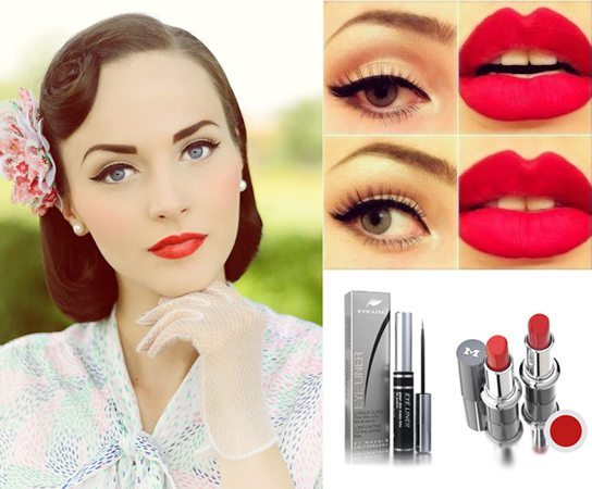 девушка с retro make up