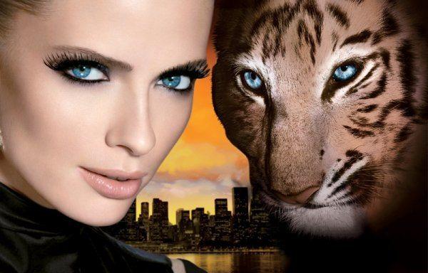 девушка и дикая кошка