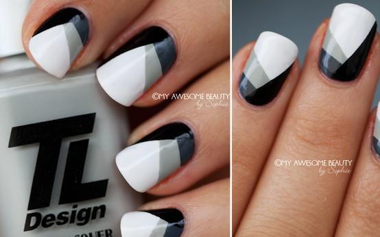 серо-бело-черный nail art