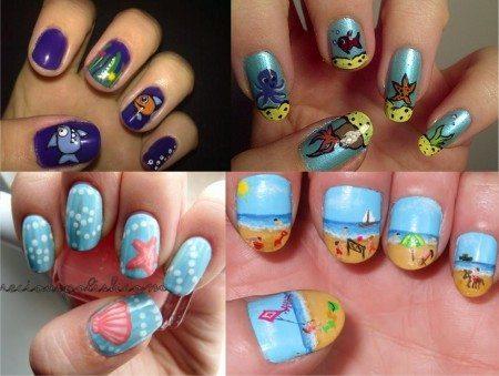 Рисунок на ногтях морской фото