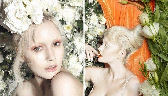 блондинки в цветах
