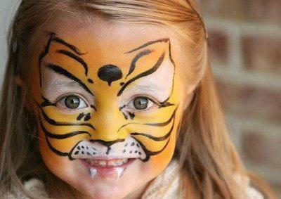 детский кошачий макияж на Хеллоуин