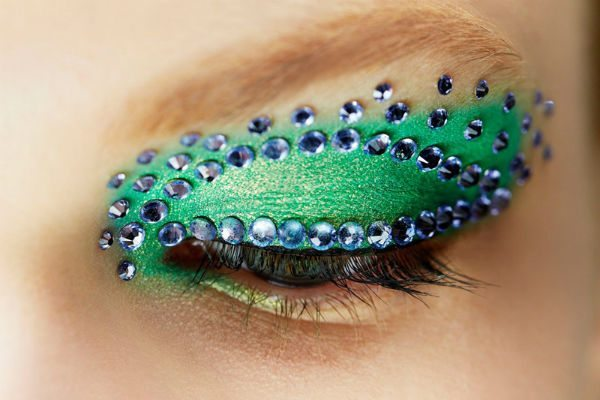 зелено- синий мейк ап глаз