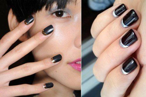 черно- серый лак на ногтях