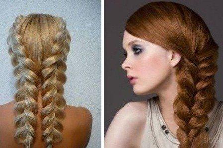 Объемные две косы на средние волосы