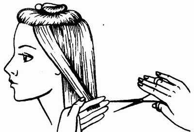 процесс состригания пряди