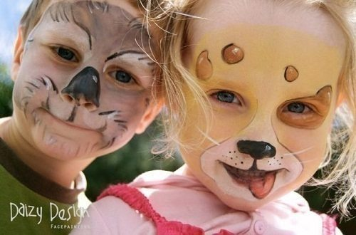 звериные мордочки на лицах детей