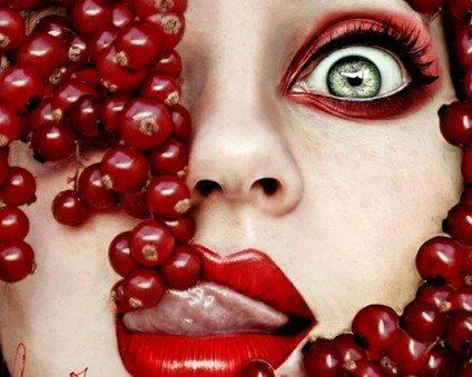 яркий красный makeup
