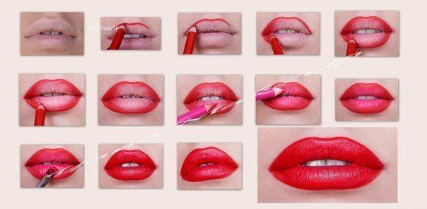 макияж губ в красном цвете