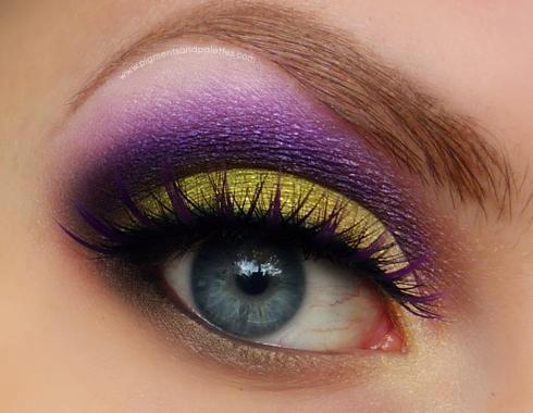 фиолетово- золотистый мейк ап глаз